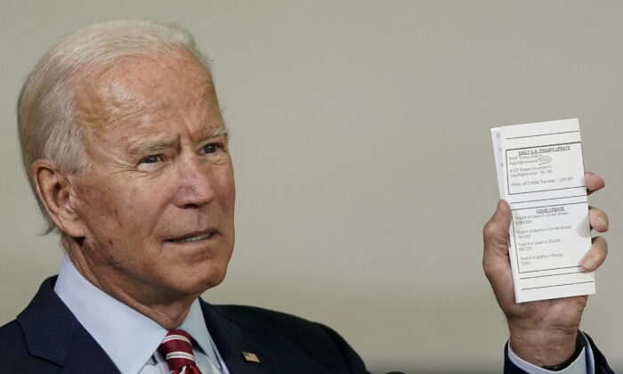 Democratic presidential nominee and former Vice President Joe Biden holds up a copy of his daily schedule in Tampa, Fla., on Sept. 15, 2020. (Drew Angerer/Getty Images)