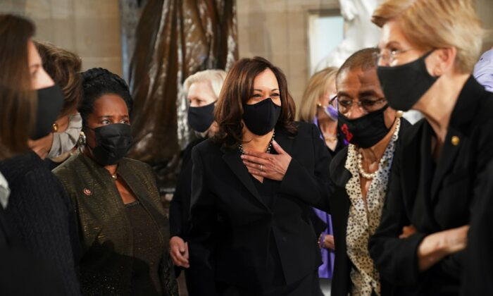 Sen. Kamala Harris (D-Calif.) arrives for a ceremony before Justice Ruth Bader Ginsburg lies in state in Statuary Hall of the U.S. Capitol in Washington, Sept. 25, 2020. (Erin Schaff/Pool via Reuters)