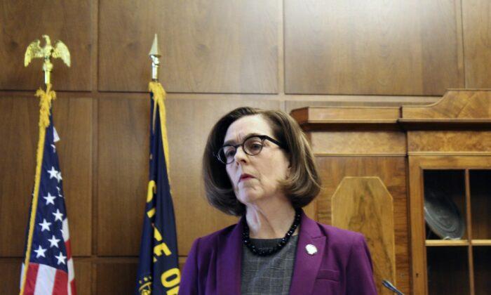 Oregon Gov. Kate Brown speaks in Salem, Ore., on Feb. 24, 2020. (Andrew Selsky/AP Photo)
