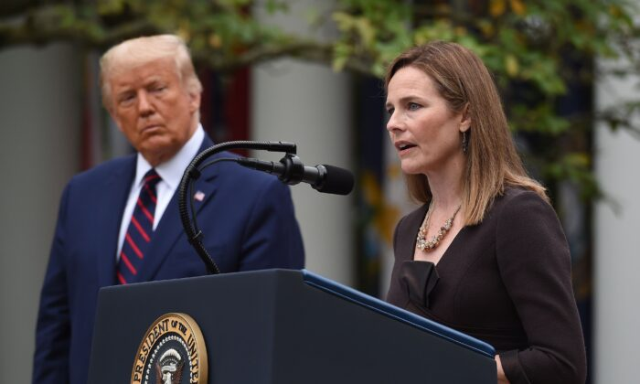 Judge Amy Coney Barrett speaks after being nominated to the Supreme Court by President Donald Trump, at the White House in Washington on Sept. 26, 2020. (Olivier Douliery/AFP via Getty Images)