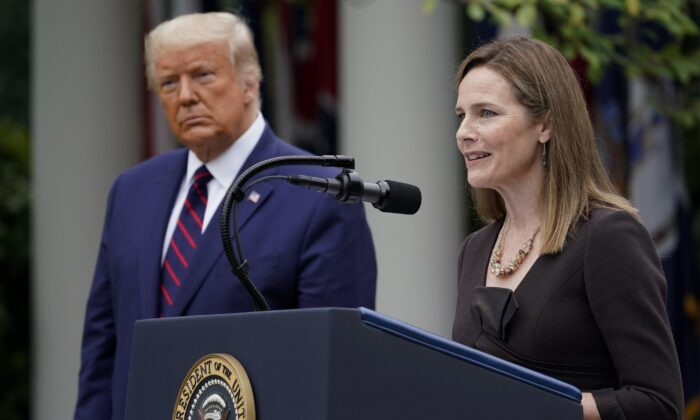 Judge Amy Coney Barrett speaks after President Donald Trump announced Barrett as his nominee to the Supreme Court, in the Rose Garden at the White House in Washington, Sept. 26, 2020. (Alex Brandon/AP Photo)