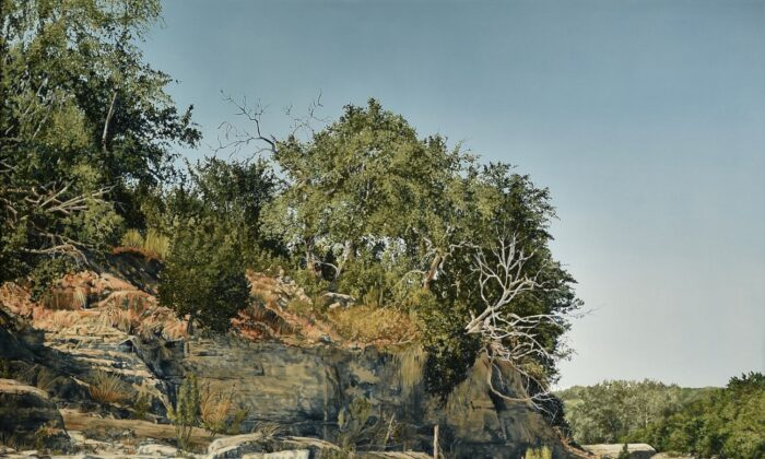 "A detail from ""Stepped Rocks With Water,"" 1984, by Nancy Conrad. A scene of the Pedernales River near Johnson City, Texas. Oil on Canvas, 66 inches by 66 inches. (Courtesy of Wayne Barnes)"
