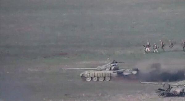 A still image shows what is said to be Azerbaijani tanks in Nagorno-Karabakh