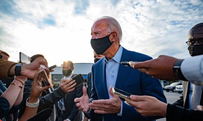 Democratic Presidential Candidate Joe Biden speaks with the press before departing Charlotte, N.C., on Sept. 23, 2020. (Jim Watson/AFP via Getty Images)
