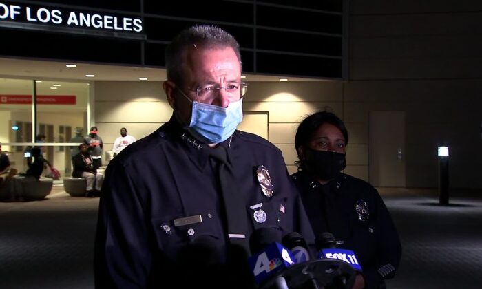LAPD Chief Michel Moore speaks to the press after an officer was attacked inside the Harbor Island Station in Los Angeles, Calif., on Sept. 26, 2020. (Courtesy of KABC)