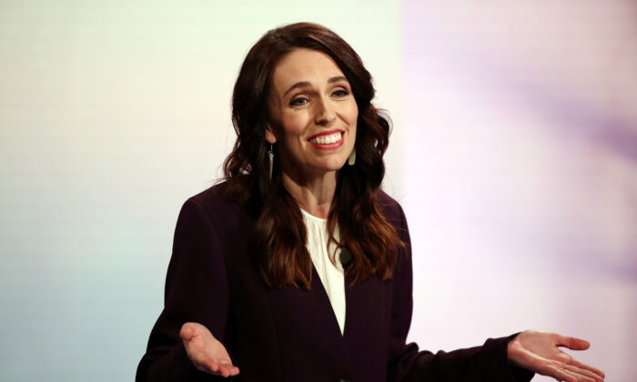 New Zealand Prime Minister Jacinda Ardern participates in a televised debate with National leader Judith Collins at TVNZ in Auckland, New Zealand, September 22, 2020. (Fiona Goodall/Pool via Reuters)
