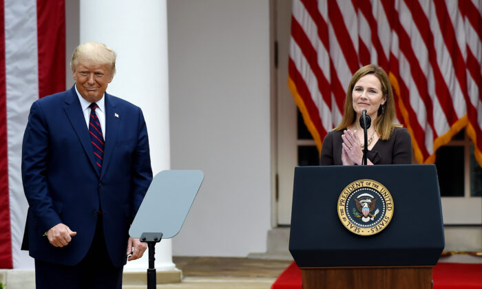 Judge Amy Coney Barrett speaks after being nominated to the U.S. Supreme Court by President Donald Trump in the Rose Garden of the White House on Sept. 26, 2020. (Olivier Douliery/AFP via Getty Images)