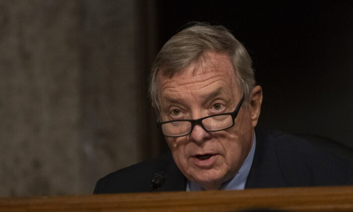 Sen. Dick Durbin (D-Ill.) speaks in Washington on Aug. 5, 2020. (Carolyn Kaster/Pool/Getty Images)