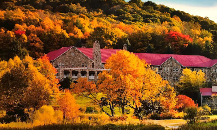 The area around Mountain Lake Lodge in Pembroke, Virginia, is alive with color in the autumn. (Courtesy of Mountain Lake Lodge)