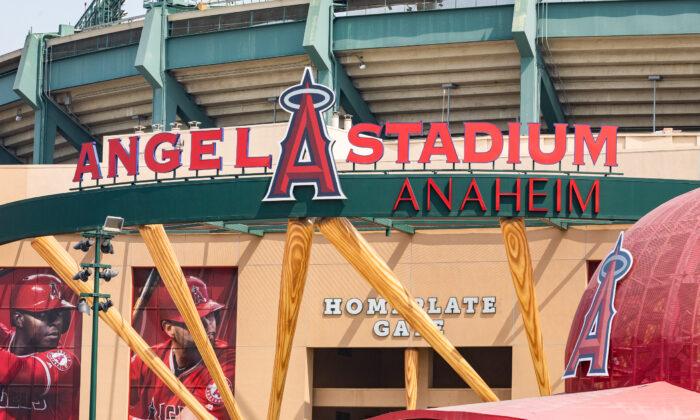 Angel Stadium in Anaheim, Calif., on Sept. 16, 2020. (John Fredricks/The Epoch Times)