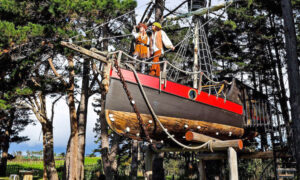 Woman Fulfills Her Childhood Dream by Building an Incredible Pirate Ship Treehouse