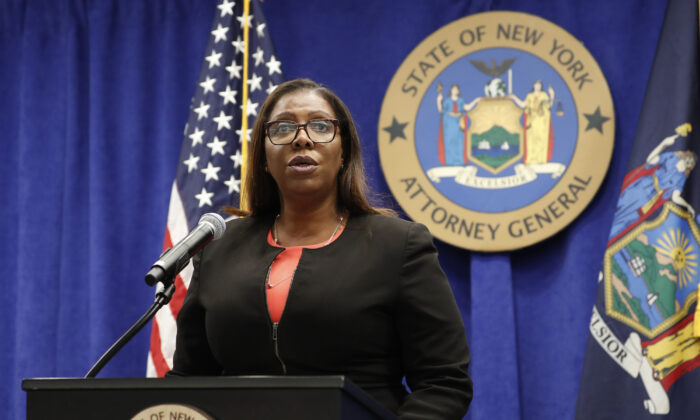 New York State Attorney General Letitia James speaks at a news conference in New York, N.Y., on Sept. 25, 2020. (Kathy Willens/AP Photo)