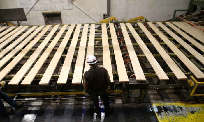 A worker inspects lumber on a conveyor belt at West Fraser Pacific Inland Resources sawmill in Smithers, British Columbia, Canada, on Feb. 4, 2020. (Reuters/Jesse Winter)