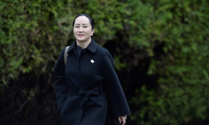 Huawei Chief Financial Officer Meng Wanzhou leaves her home to attend her extradition hearing at the B.C. Supreme Court in Vancouver on January 22, 2020. (Reuters/Jennifer Gauthier)