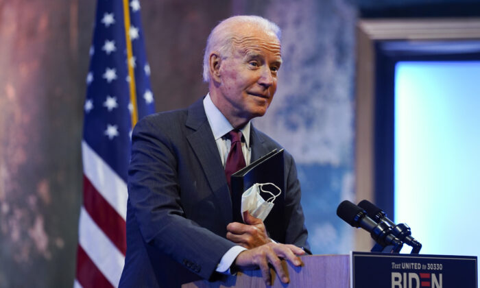 Democratic presidential nominee former Vice President Joe Biden gives a speech on the Supreme Court at The Queen Theater in Wilmington, Del., Sept. 27, 2020. (Andrew Harnik/AP Photo)