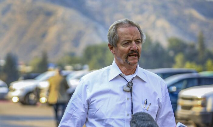 William Perry Pendley, acting director of the Bureau of Land Management, speaks to the media on the Grizzly Creek Fire in Eagle, Colo., on Aug. 14, 2020. (Chris Dillmann/Vail Daily via AP)