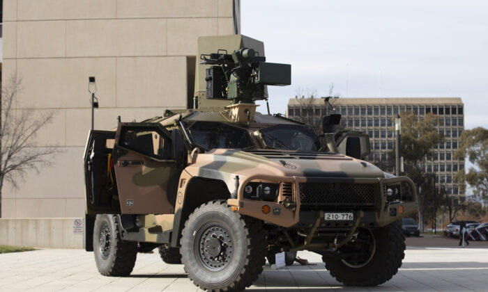 An Australian Army Hawkei Protected Mobility Vehicle with a mock-up of a CEA Technologies Tactical Radar and an Electro-Optic Systems RS400 Mk2 Remote Weapon System on display in Canberra, Australia on Sept. 2, 2020. (ADF)