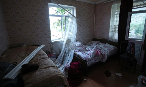 An interior view shows a house, which locals said was damaged during a recent shelling by Azeri forces
