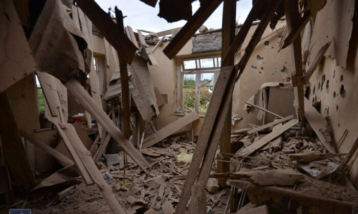 An interior view shows a house, which locals said was damaged during a recent shelling by Azeri forces, in the town of Martuni in the breakaway Nagorno-Karabakh region, on Sept. 28, 2020. (Foreign Ministry of Armenia/Handout via Reuters)