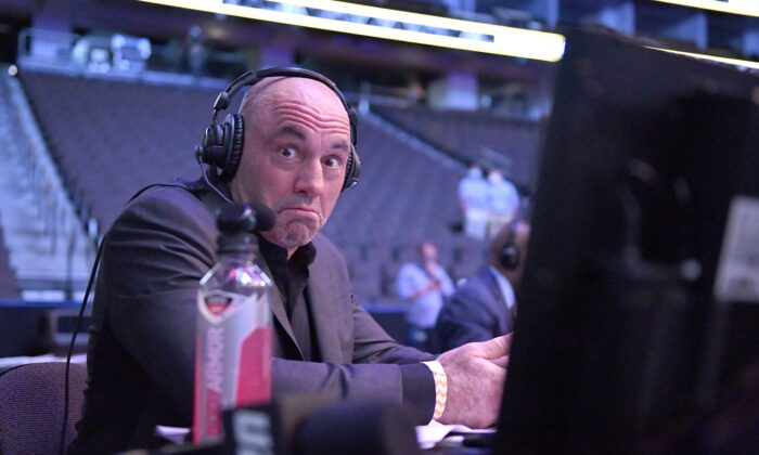 Announcer Joe Rogan, host of the Joe Rogan Experience, reacts during Ultimate Fighting Championship 249 at VyStar Veterans Memorial Arena in Jacksonville, Fla., on May 9, 2020. (Douglas P. DeFelice/Getty Images)