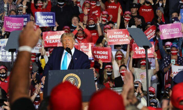 President Donald Trump speaks at a rally at Harrisburg International Airport in Middletown, Penn., on Sept. 26, 2020. (Spencer Platt/Getty Images)