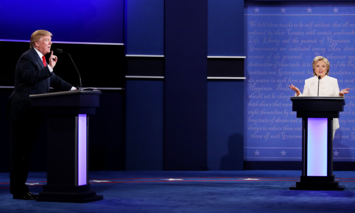 Democratic presidential nominee former Secretary of State Hillary Clinton (R) debates with Republican presidential nominee Donald Trump during the third U.S. presidential debate at the Thomas Mack Center in Las Vegas, Nev., on Oct. 19, 2016. (Drew Angerer/Getty Images)
