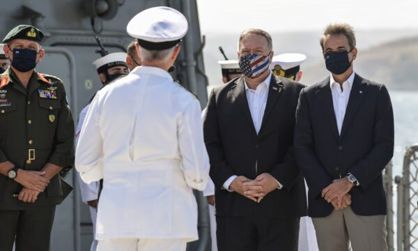 Mike Pompeo and Greek Prime Minister Kyriakos Mitsotakis visit the Greek frigate Salamis