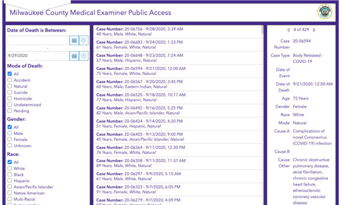 A screenshot of the Milwaukee County Medical Examiner's Office COVID-19 death reports. (Epoch Times/screenshot)