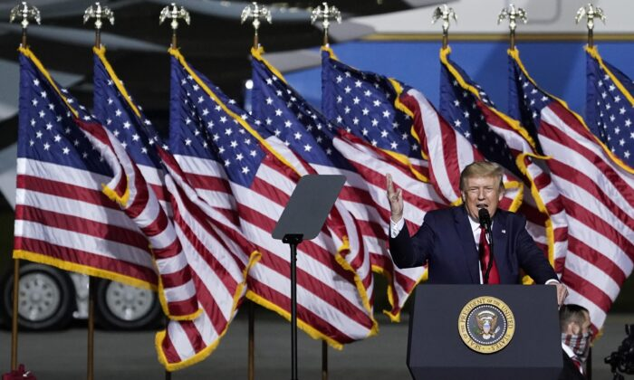 President Donald Trump speaks during a campaign rally at Newport News/Williamsburg International Airport in Newport News, Va., on Sept. 25, 2020 (Drew Angerer/Getty Images)