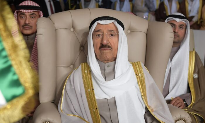 Kuwait's ruling emir, Sheikh Sabah Al Ahmad Al Sabah, attends the opening of the 30th Arab Summit, in Tunis, Tunisia, on March 31, 2019. (Fethi Belaid/Pool Photo via AP/File)