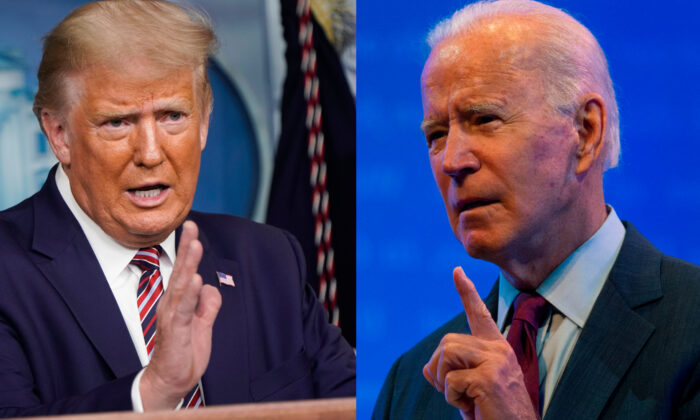 This combination of file pictures shows President Donald Trump speaking during a news conference in the Briefing Room of the White House in Washington, on Sept. 27, 2020, and Democratic presidential nominee and former Vice President Joe Biden delivering a speech at a local theater in Wilmington, Del., on Sept. 27, 2020. (Joshua Roberts and Roberto Schmidt/AFP via Getty Images)