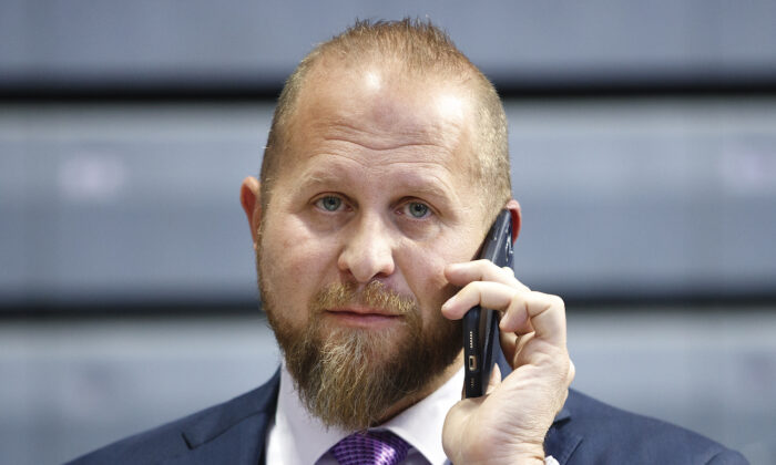 Brad Parscale speaks on the phone ahead of a campaign rally in Des Moines, Iowa, on Jan. 30, 2020. (Tom Brenner/Getty Images)