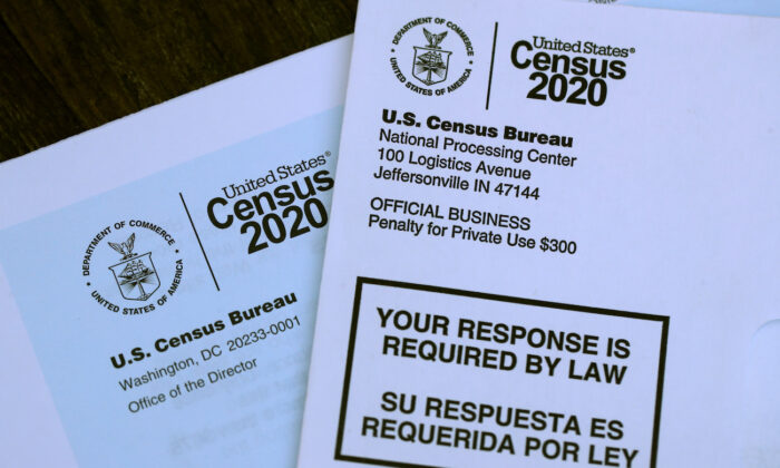 The U.S. Census logo appears on census materials received in the mail with an invitation to fill out census information online in San Anselmo, California, on March 19, 2020. (Justin Sullivan/Getty Images)