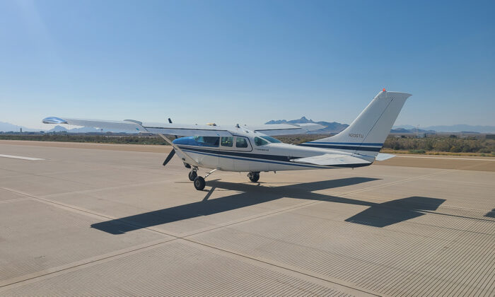 A Cessna 206 on the runway at Dugway Proving Ground, Utah,  during a flight test of an unmanned air platform on Sept. 24, 2020. (Air Force/Courtesy)