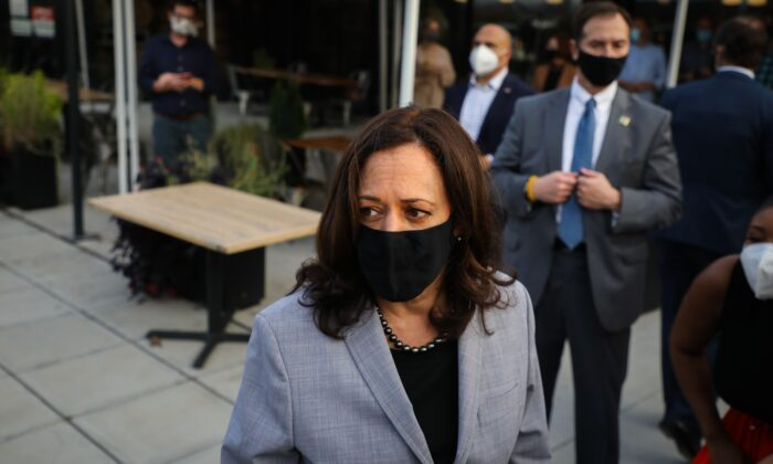 Democratic Vice Presidential nominee Sen. Kamala Harris (D-Calif.) speaks to reporters in Raleigh, N.C., Sept. 28, 2020. (Logan Cyrus/AFP via Getty Images)