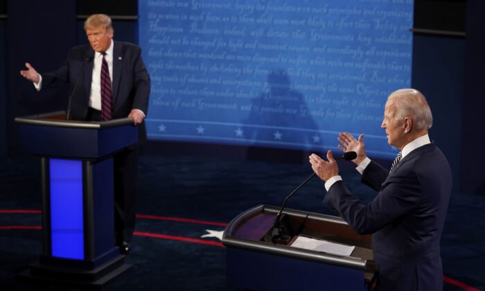 President Donald Trump and Democratic presidential candidate former Vice President Joe Biden exchange points during the first presidential debate at Case Western University and Cleveland Clinic, in Cleveland, Ohio, on Sept. 29, 2020. (Morry Gash/AP Photo, Pool)