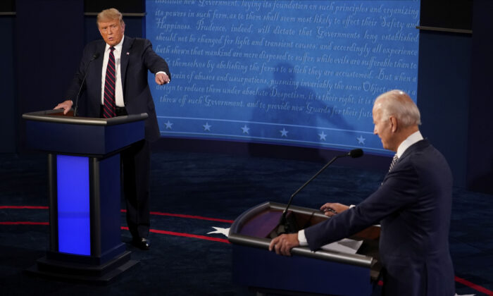 President Donald Trump and Democratic presidential candidate former Vice President Joe Biden exchange points during the first presidential debate at Case Western University and Cleveland Clinic, in Cleveland, Ohio on Sept. 29, 2020. (Morry Gash/AP Photo, Pool)