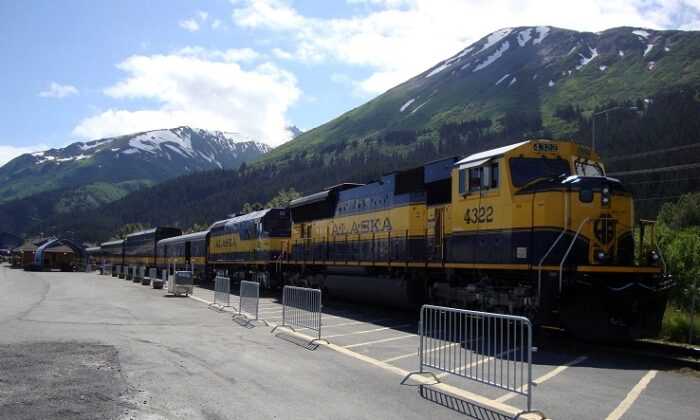The Alaska Railroad passenger train idles at Seward, Alaska, in a file photo. When completed, the A2A Rail project will connect Alaska and Alberta and ship a variety of freight, and possibly passengers as well. (Public Domain)