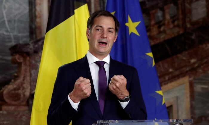 Belgian Finance Minister Alexander De Croo attends a news conference in Brussels, on Sept 30, 2020. (Yves Herman/Reuters)