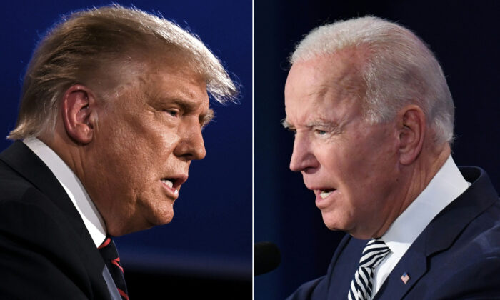 President Donald Trump and Democratic presidential nominee Joe Biden square off during the first presidential debate at the Case Western Reserve University and Cleveland Clinic in Cleveland, Ohio, on Sept. 29, 2020. (Jim Watson, Saul Loeb/AFP via Getty Images)