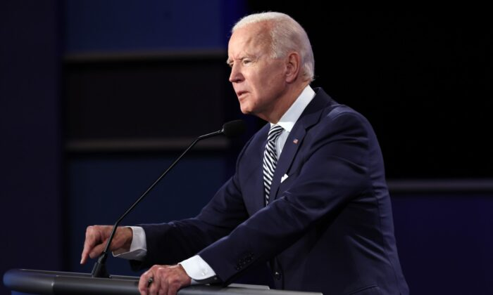 Democratic presidential nominee Joe Biden participates in the first presidential debate against President Donald Trump at the Health Education Campus of Case Western Reserve University in Cleveland, Ohio, on Sept. 29, 2020. (Win McNamee/Getty Images)