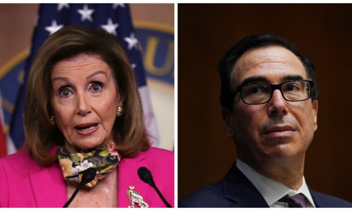 (L): House Speaker Nancy Pelosi (D-Calif.) in Washington on Sept. 18, 2020. (Chip Somodevilla/Getty Images); (R): Treasury Secretary Steven Mnuchin in Washington on Sept. 24, 2020. (Toni L. Sandys-Pool/Getty Images)
