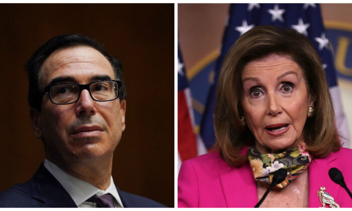 (L): Treasury Department Secretary Steven T. Mnuchin in Washington on Sept. 24, 2020. (Toni L. Sandys-Pool/Getty Images); (R): House Speaker Nancy Pelosi (D-Calif.) at the U.S. Capitol Visitors Center in Washington on Sept. 18, 2020. (Chip Somodevilla/Getty Images)