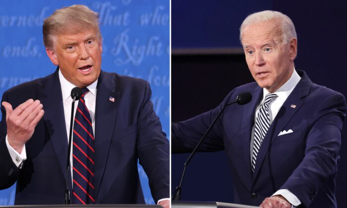 President Donald Trump and Democratic presidential nominee Joe Biden participate in the first presidential debate at the Health Education Campus of Case Western Reserve University in Cleveland, Ohio, on Sept. 29, 2020. (Win McNamee-Scott Olson/Getty Images)
