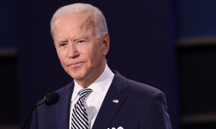 Democratic presidential nominee Joe Biden listens during the first presidential debate at Case Western Reserve University and Cleveland Clinic in Cleveland, Ohio, on Sept. 29, 2020. (Scott Olson/Getty Images)