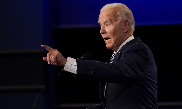 Democratic presidential nominee Joe Biden gestures while speaking during the first presidential debate at Case Western University and Cleveland Clinic, in Cleveland, Ohio, Sept. 29, 2020. (Julio Cortez/AP Photo)