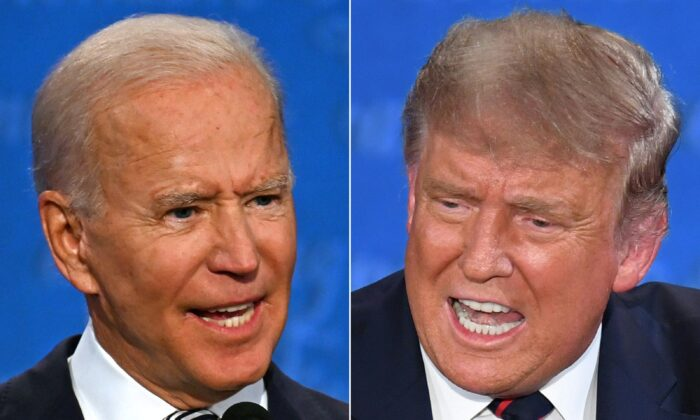 This combination of pictures shows Democratic presidential nominee Joe Biden, left, and President Donald Trump speaking during the first presidential debate at the Case Western Reserve University and Cleveland Clinic in Cleveland, Ohio on Sept. 29, 2020. (Saul Loeb/AFP via Getty Images)