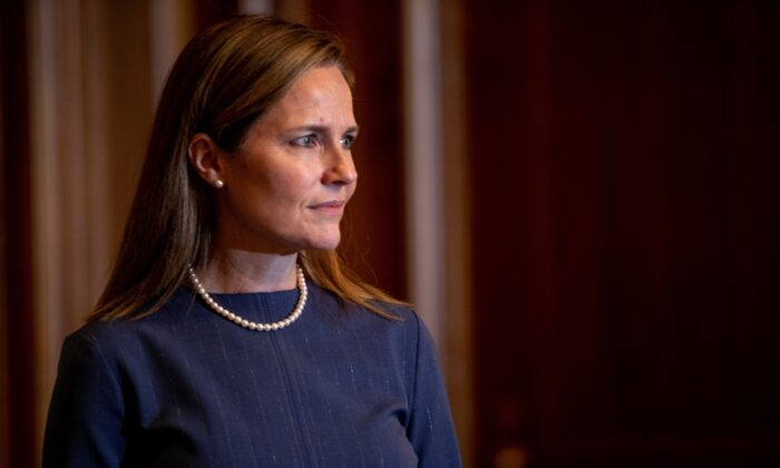 Judge Amy Coney Barrett, President Donald Trump's nominee for the Supreme Court, in Washington on Sept. 29, 2020. (Shawn Thew/Pool via Reuters)