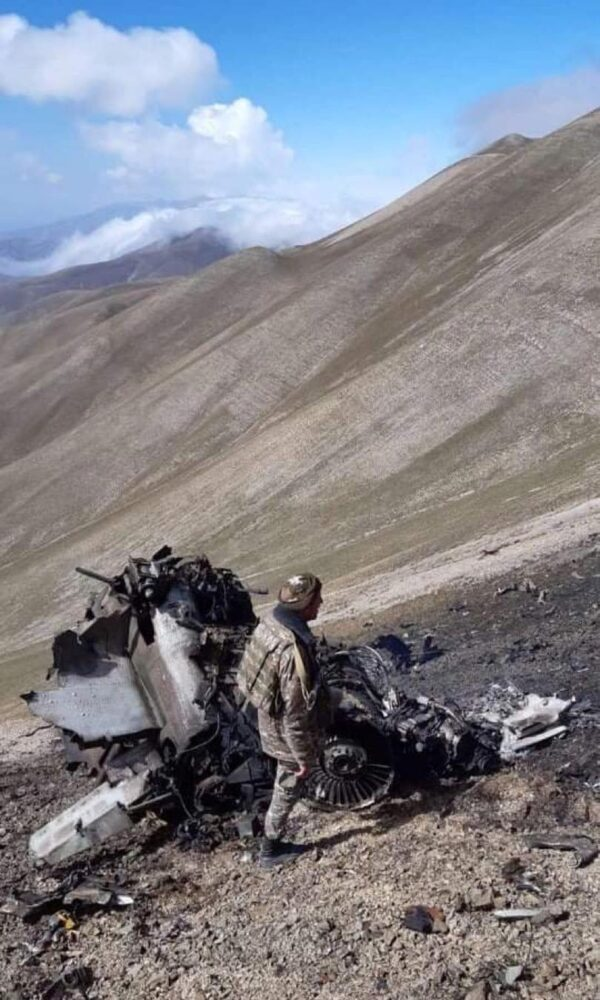 the wreckage of a SU-25 warplane of the Armenian air forces