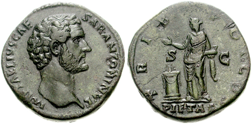 Pietas was embodied by the divine personification Pietas, a goddess often pictured on Roman coins. Here, Pietas (R) drops incense over a lighted altar. 138. (Classical Numismatic Group/CC BY-SA 2.5)